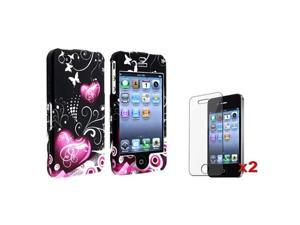 Purple Butterfly Plastic Hard Case Cover+2x Screen Pro compatible with iPhone® 4 4th 4G 4S