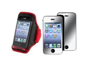 SportBand Armband Red/Black CASE Cover+MIRROR Guard compatible with VERIZON iPhone® 4 G GS 4S