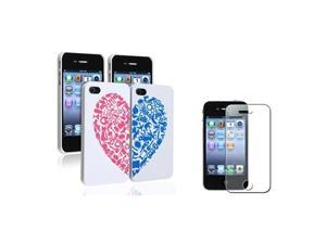 2pc White w/Red&Blue Heart Case+Bling Glitter Guard Protector compatible with iPhone® 4 4G 4S