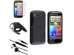 4 Accessory Black S Curve TPU Case+LCD Film+Charger+More compatible with HTC Sensation 4G