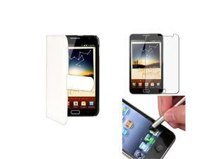 White Wallet Flip Pouch Holder Case+Stylus+LCD SP compatible with Samsung© Galaxy Note N7000