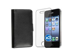 Black Wallet Leather Pouch Skin Case+3x LCD Pro Film compatible with iPhone 4 Gen 4G 4S
