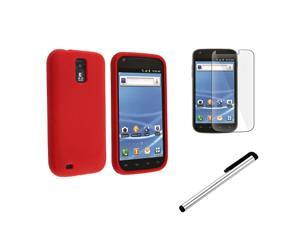 Red Silicone Skin Gel Case Cover+LCD+Stylus compatible with Samsung© Galaxy S2 T-Mobile T989