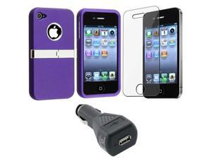 Purple w/ Chrome Stand Case Cover+LCD Guard+Car Charger compatible with iPhone 4 4th 4G 4s