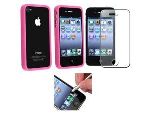 Hot Pink Bumper TPU Rubber Case Cover+Diamond Guard+Pen compatible with iPhone 4 s 4s th 4G