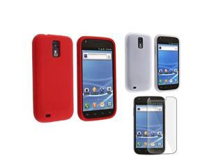 White+Red 2in1 Silicone Skin Case+LCD SP compatible with Samsung© Galaxy S2 T-Mobile T989