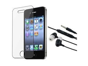 Hands-free Headphone Earphone Mic compatible with Apple iPhone 4 4G s 4s 16/32GB+LCD COVER