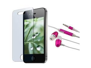 Pink 3.5mm Handsfree Accessory compatible with Apple iPhone 4 s 4s OS 4+Screen Protector
