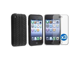 Black Tire Silicone Rubber Skin Case+3x LCD Pro Film compatible with iPhone 3 3G 3GS