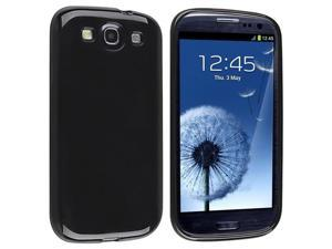 Black TPU Rubber Case with Reusable Screen Protector compatible with Galaxy S III i9300