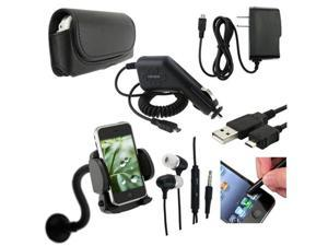 7 ACCESSORY BUNDLE CASE CAR CHARGER HEADSET MOUNT STYLUS USB compatible with LG RUMOR TOUCH