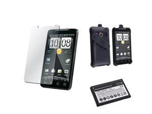 For HTC EVO 4G Swivel Holster Cover+LCD Film+Battery