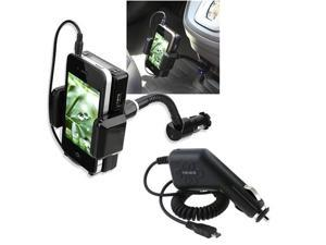 3.5mm FM Transmitter w/mic Holder+Car Charger For LG G2X Optimus 2X