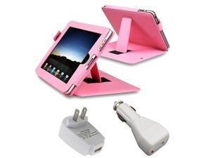 Pink Leather Case With White USB Car & Travel Adapters Compatible With Apple® iPad®