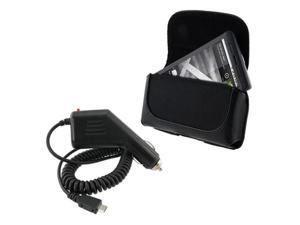 Car Charger+BlacK Leather Case compatible with Samsung© Google Nexus S Continnum Droid Charge