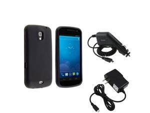 Black Rubber Skin Case+Car+Home Wall Charger compatible with Samsung© Galaxy Nexus i9250 i515