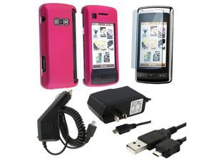 NEW Pink Rubber Case Cover+Car+Home Charger+LCD Guard+USB Cable compatible with LG enV Touch