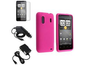 Pink Silicone Skin Gel Case+2x Charger+LCD Cover compatible with HTC Hero S EVO Design 4G