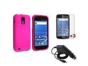 Pink Rubber Hard Case+3x LCD SP+Charger compatible with Samsung© Galaxy S2 T989 T-Mobile