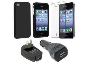 for iPhone® 4 4S 4G 4GS G BLACK Case+TRAVEL+Car Charger+Protector