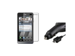 compatible with Motorola Droid 3 XT862 Retractable Car Charger+Screen Protector Cover LCD