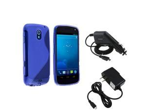 Blue S-Line Rubber TPU Case+DC+AC Charger compatible with Samsung© Galaxy Nexus i515 i9250