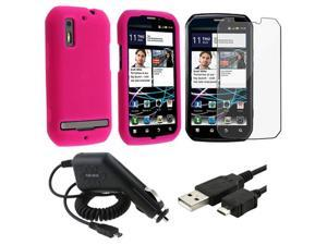 Pink Skin Soft Cover Case+Film+Charger+USB Cable compatible with Motorola Photon 4G MB855
