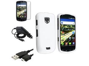 White Rubber Case+Car Charger+USB+Guard compatible with Samsung© Droid Charge SCH-i510 i520