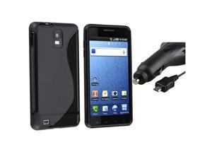 Black Skin Gel S Shape Cover Case+Car DC Charger compatible with Samsung© Infuse 4G SGH-i997