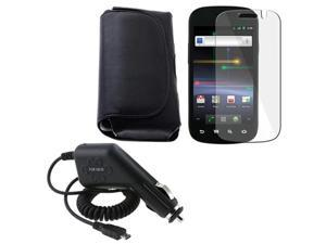 Black Leather Pouch Case+LCD Protector+Car DC Charger compatible with Samsung© Google Nexus S