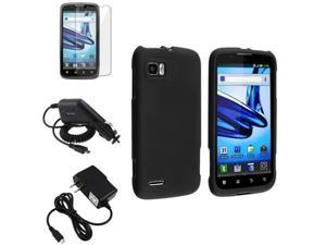 Black Rubberized Skin Case+2 Charger+LCD Cover compatible with Motorola Atrix 2 MB865