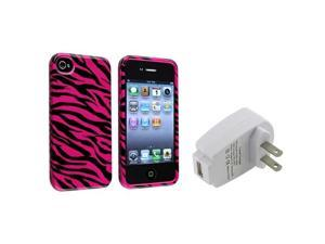 Pink/Black Zebra Hard Cover Case+Home AC Charger For iPhone® 4 4th 4G 4S