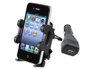 Car Vent Mount Stand+Black Charger Accessory Kit For Apple® iPhone® 4 4G OS 4S 3Gs