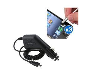 Car Charger+3 Stylus compatible with Motorola Photon Droid Bionic Atrix 2 X X2 Droid Razr