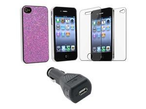 for iPhone® 4 4S 4G 4GS G PURPLE HARD CASE+SCREEN FILM+CAR CHARGER