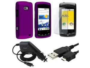 compatible with LG Ally VS740 Purple Hard Case+USB+DC Charger+Pro