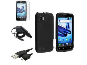 Black Rubber Hard Case+Film+USB Cord+Car Charger compatible with Motorola Atrix 2 MB865