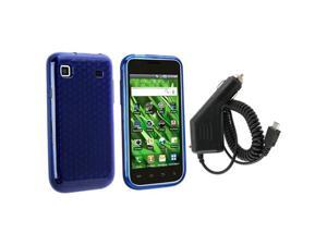 compatible with Samsung© Galaxy S i9000 Blue TPU Rubber Gel Case Cover+Car Charger