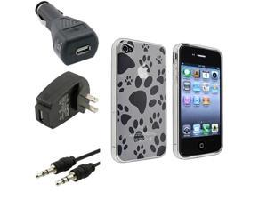 Dog Paw Foot Print TPU Gel Hard Case+Car+USB Home Charger+Cable For iPhone® 4 4S