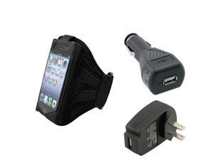 Black Armband Sportband Case+Car+Travel Charger Accessory For iPhone® 4 4S