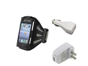 Black/Silver Armband Sportband Case Cover+Car+US AC Wall Charger For iPhone® 4 4S