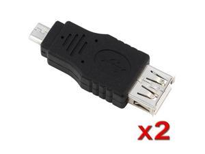 2 Pcs Black Type A Female to Micro B Male USB 2.0 Adapter F/M