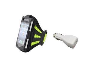 Black/Green Armband Sportband Case Cover Skin+Car DC Charger For iPhone® 4 4G 4S