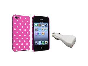 Pink w/White Dot Rubber Hard Cover Case Skin+Car Charger For iPhone® 4 4th 4S 4GS