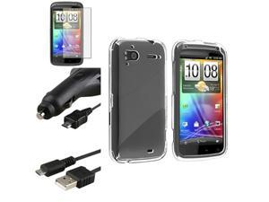 Clear Crystal Phone Case+Retract Car Charger+Cable+Film compatible with HTC Sensation 4G