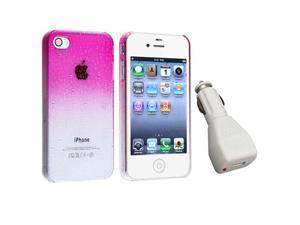 Clear Pink Waterdrop Hard Cover Case+Car Charger For iPhone® 4 Gen 4G 4S
