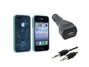 Blue Flower TPU Soft Cover Case+Car Charger+AUX Cable For iPhone® 4 4G Gen 4S