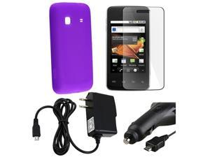 Purple Silicone Skin Case+2x Charger+LCD Guard compatible with Samsung© Galaxy Prevail M820