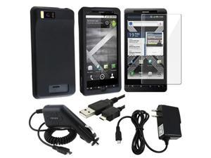 Black Gel Case+USB+2 Charger+Pro compatible with Motorola Droid X2