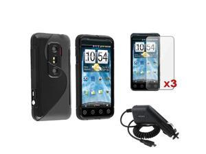 Frost Black S Shape TPU Gel Skin Case+3x LCD Protector+DC Charger compatible with HTC EVO 3D